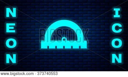 Glowing Neon Protractor Grid For Measuring Degrees Icon Isolated On Brick Wall Background. Tilt Angl