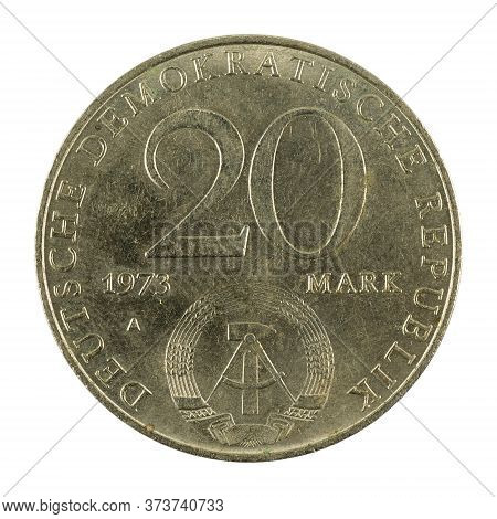 Historic 20 East German Mark Coin Special Edition(1973) Reverse Isolated On White Background