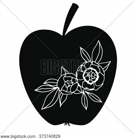 Vector Apple With Flower Ornament For Teacher Illustration. Pupils Gift For Teacher. Isolated On Whi