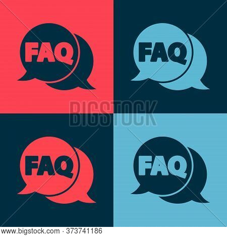 Pop Art Speech Bubble With Text Faq Information Icon Isolated On Color Background. Circle Button Wit