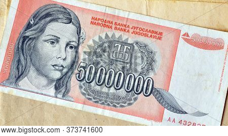 Obverse Of 50 Million Dinars Paper Bill Issued By Yugoslavia, That Shows Portrait Of Young Girl