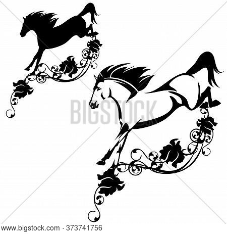 Beautiful Wild Horse Jumping Over Rose Flower Decor - Fantasy Mustang Stallion Black And White Vecto