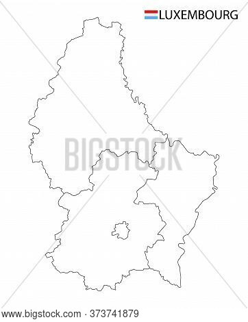 Luxembourg Map, Black And White Detailed Outline Regions Of The Country.