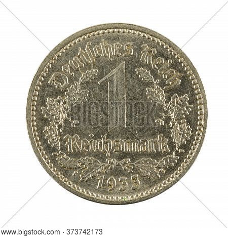 1 German Reichsmark Coin (1933) Obverse Isolated On White Background