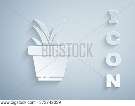 Paper Cut Flower In Pot Icon Isolated On Grey Background. Plant Growing In A Pot. Potted Plant Sign.