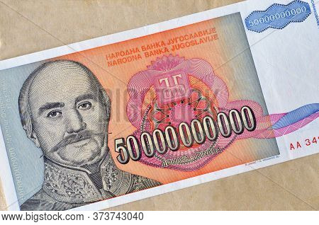 Obverse Of 50 Billion Dinars Paper Bill Issued By Yugoslavia, That Shows Portrait Of Prince Milos Ob