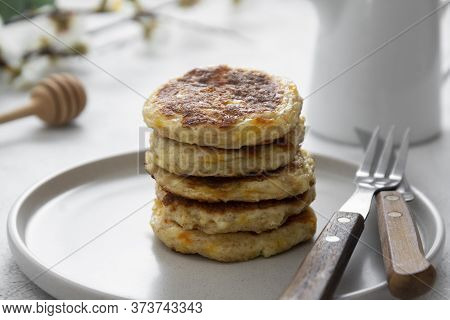 Cheese Flapjacks Or Pancakes. Rounf Frities Made From Cotage Cheese