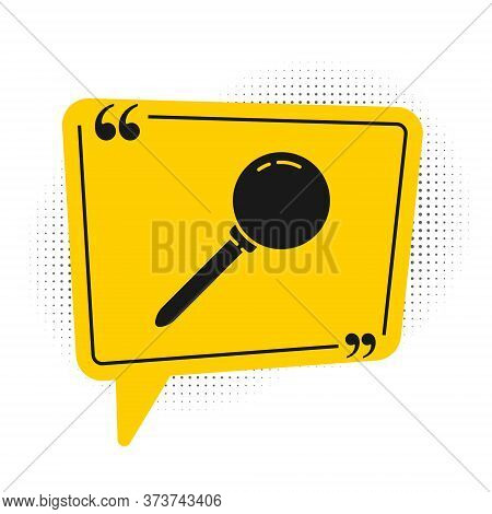 Black Push Pin Icon Isolated On White Background. Thumbtacks Sign. Yellow Speech Bubble Symbol. Vect