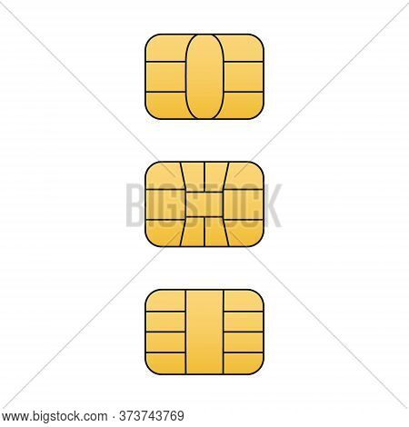 Emv Gold Chip Icon Set. Vector Symbol Illustration For Credit And Debit Card Or Sim Card. Isolated O