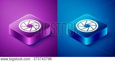 Isometric Camera Shutter Icon Isolated On Blue And Purple Background. Square Button. Vector Illustra