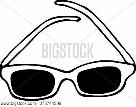 Vector Isolated Element, Hand Drawn Doodle. Sun Glasses. Accessory For Beach, Sea.