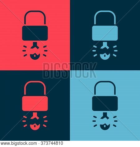 Pop Art Key Broke Inside Of Padlock Icon Isolated On Color Background. Padlock Sign. Security, Safet
