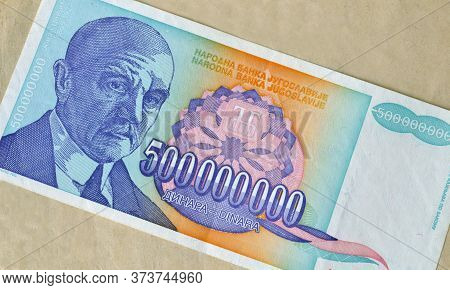 Obverse Of 500 Million Dinars Paper Bill Issued By Yugoslavia, That Shows Portrait Of  Scientists Jo