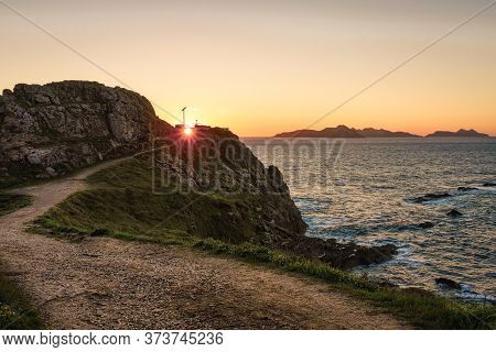 Sunset At Monteferro Lighthouse In Nigran, Galicia, Spain
