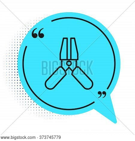Black Line Car Battery Jumper Power Cable Icon Isolated On White Background. Blue Speech Bubble Symb