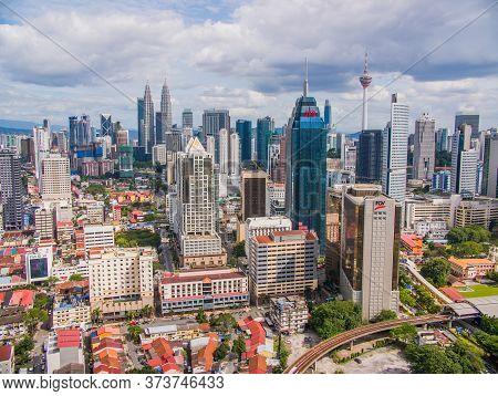 Kuala Lumpur, Malaysia - January 21, 2019: Panorama With Skyscrapers In The Capital Of Malaysia, Kua