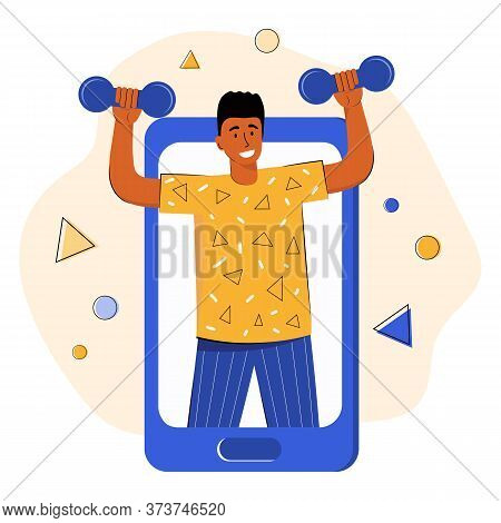 Online Sports Training. Trainer Conducts Strength Training Using A Mobile App On Smartphone. Fitness