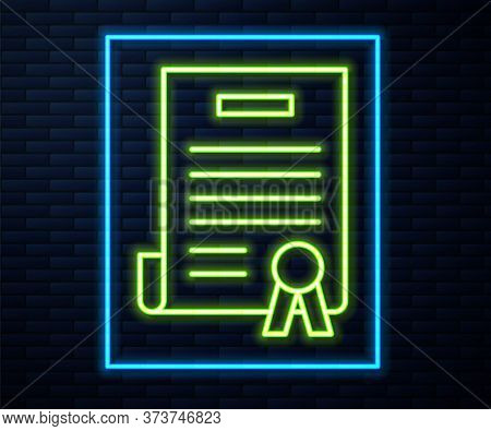 Glowing Neon Line Declaration Of Independence Icon Isolated On Brick Wall Background. Vector Illustr