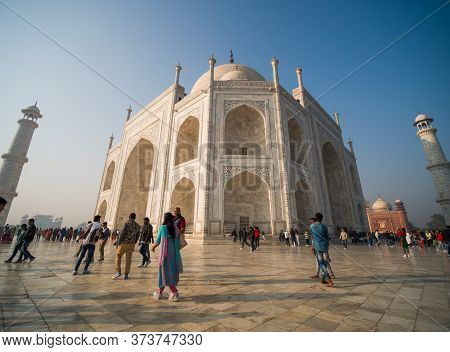 Agra, India - December 12, 2019: The Legendary Taj Mahah In India.
