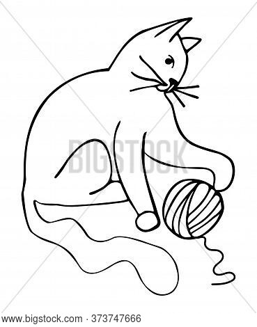 Vector Illustration - Cat With A Ball Of Thread;  The Cat Is Playing. Logo Design For A Thread Store