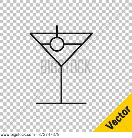 Black Line Martini Glass Icon Isolated On Transparent Background. Cocktail Icon. Wine Glass Icon. Ve