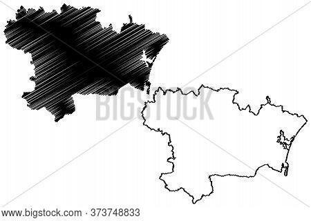 Aude Department (france, French Republic, Occitanie Or Occitania Region) Map Vector Illustration, Sc