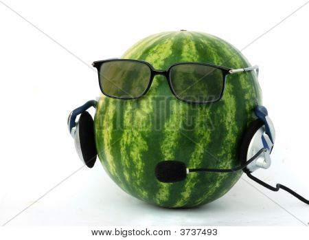 Head-Like Watermelon In  Headphone And Eyeglasses