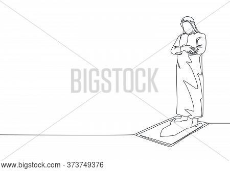 One Single Line Drawing Of Young Muslim Person Pray Salat On Sajadah In Shmag Traditional Arab Cloth