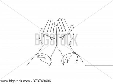 Single Continuous Line Drawing Of Muslim Person Open And Raise Hands Praying To God. Islamic Holy Da