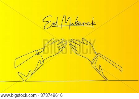 Eid Mubarak Greeting Card, Banner And Poster Design Background. Single Continuous Line Drawing Of Tw