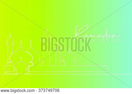 Single Continuous Line Drawing Of Masjid, Masjid Dome And Masjid Tower Ornament. Eid Al Fitr Mubarak