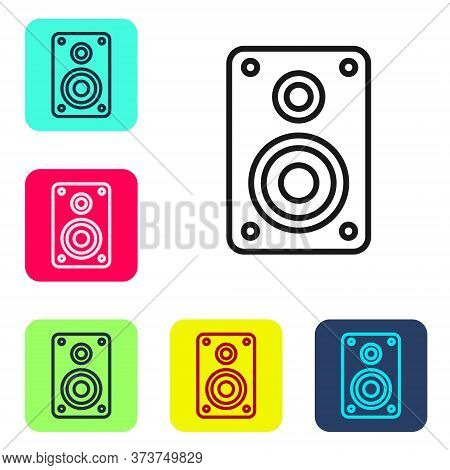 Black Line Stereo Speaker Icon Isolated On White Background. Sound System Speakers. Music Icon. Musi