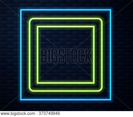 Glowing Neon Line Sewing Pattern Icon Isolated On Brick Wall Background. Markings For Sewing. Vector