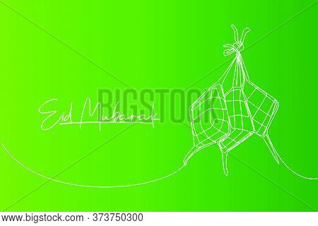 Eid Mubarak Greeting Card, Poster And Banner Design. One Continuous Line Drawing Of Ketupat, Local R