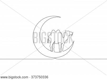One Continuous Line Drawing Of Camel Animal Standing On Moon . Muslim Holiday The Sacrifice A Camel,