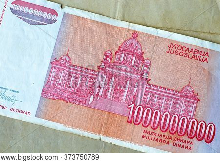 Reverse Of One Billion Dinars Paper Bill Issued By Yugoslavia, That Shows National Assembly Of Repub