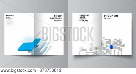 Vector Layout Of Two A4 Cover Mockups Templates For Bifold Brochure, Flyer, Magazine, Cover Design,