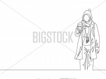 One Single Line Drawing Of Young Attractive Happy Muslimah Wear Beanie Hat And Hold Coffee Cup. Beau