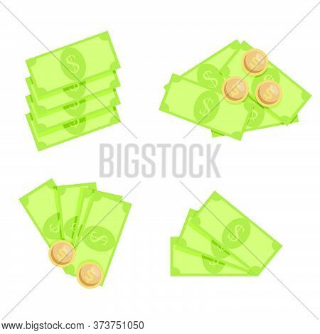 Cash Money Dollar, Fan Stack And Pile With Coins. Vector Bank Cash Money Isolated, Finance Banknote