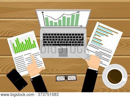 Businessman Analyzing Economic Rate, Workplace With Laptop. Chart Growth, Graph Analyze Market, Rese