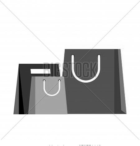Paper Bag For Making Purchases. Vector Store And Shop Package, Isolated Gift And Good Bargain Illust