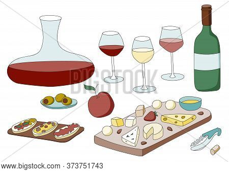 Doodle Cartoon Hipster Style Colored Vector Illustration. A Still Life Or Set With Variety Of Wine G