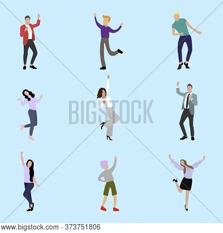 Happy People Jumping And Celebration. Male And Female Fun And Success, Jump Active And Cheerful, Vec