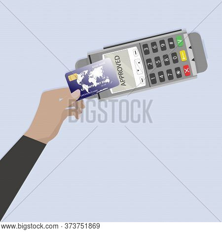 Paying Credit Card Contactless Terminal. Vector Wireless Banking Transaction Online, Financial Acces