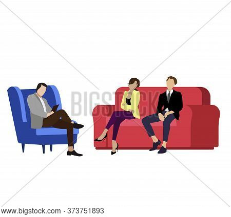 Couple Husband And Wife Consult Psychologist. Vector Consultation Psychologist, Woman And Man Family
