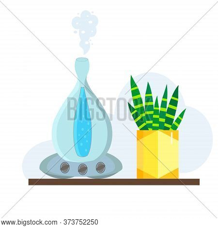Humidifier Illustration With A Plant On A White Background. Ultrasonic House Microclimate Cleaner Fl