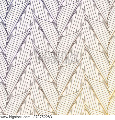 Abstract Leaves Vector Pattern, Repeating Abstract Linear Leaves. Pattern Is Clean For Fabric, Wallp
