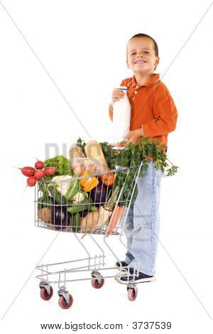Happy Boy With Milk And Groceries