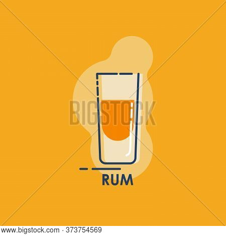 Shot Rum Line Art In Flat Style. Restaurant Alcoholic Illustration For Celebration Design. Design Co