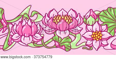 Seamless Pattern With Lotus Flowers. Art Nouveau Vintage Style. Water Lily Decorative Illustration.